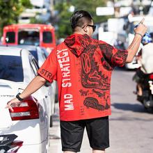 潮牌Tzn胖的男装特hl袖红色连帽衫宽松肥佬2021国潮风夏服饰