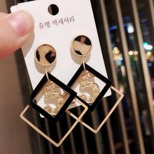 韩国2zn20年新式zd夸张几何个性豹纹耳环耳坠银针耳钉耳饰女