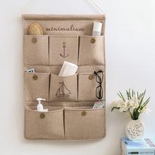 创意棉zn收纳挂袋悬zd层挂兜布艺门后杂物储物袋墙挂式收纳袋