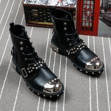 春夏季zo士皮靴朋克ng金属机车马丁靴韩款潮流高帮鞋增高短靴