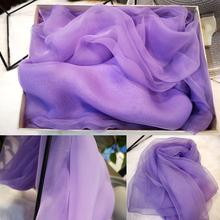 韩款仙zo巾溥式紫色ar丝纱巾纯色长条防晒沙滩披肩纱女百搭夏