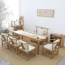 新中式zo胡桃木茶桌u0老榆木茶台桌实木书桌禅意茶室民宿家具