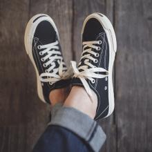 日本冈zo久留米viuige硫化鞋阿美咔叽黑色休闲鞋帆布鞋