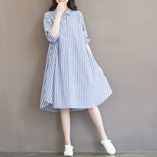 202zq春夏宽松大rs文艺(小)清新条纹棉麻连衣裙学生中长式衬衫裙