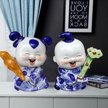景德镇zq瓷青花瓷器wf居客厅摆设中式摆件工艺品结婚礼物礼品