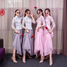 伴娘礼zs女中式中国ng21新式仙气质创意春夏大气姐妹团显瘦长式