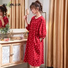 大红色睡裙女士春秋夏zs7薄款纯棉mb结婚开衫家居服新娘睡衣