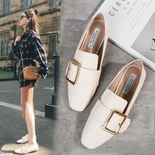 202zs春式平底女mb福穆勒鞋加绒懒的两穿方头方扣(小)皮鞋(小)白鞋