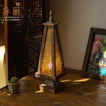 东南亚台灯 泰zs风格特色竹mp卧室床头灯仿古创意桌灯灯具灯饰