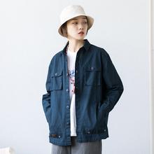 Epizssocotlf制春季美式中性bf口袋薄工装外套 日系男女衬衫夹克
