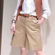 圣阿玛zs塔夏季女装lf品2020年新式英伦风卡其色五分直筒裤子