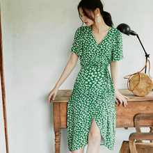 BELzuYWEARai季印花裹身长裙短袖交叉V领时尚外出哺乳连衣裙