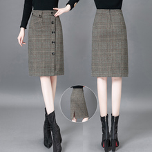 毛呢格子半身裙zu秋冬202ai款单排扣高腰a字包臀裙开叉一步裙