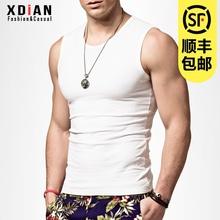 无袖Tzu男士运动健ao型紧身宽肩砍袖打底背心纯潮外穿