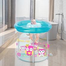 婴儿游zu桶家用折叠du气加厚室内保温洗澡桶新生儿宝宝游泳池