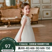 女童公zu裙夏装20du式宝宝洋气夏季白色连衣裙子蓬蓬纱