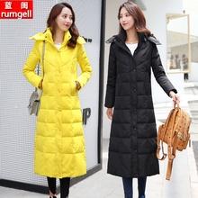 202zu新式加长式lu女过膝加厚超长大码外套时尚修身白鸭绒冬装