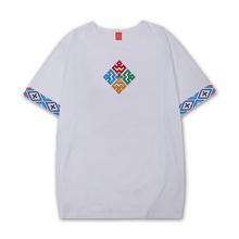 藏族原zw服饰西藏元bs风藏潮服饰纯棉刺绣藏文化T恤吉祥图案