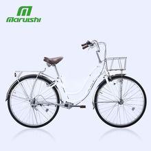 丸石自zy车26寸传xr梁内变速成的轻便无链条可带载的复古单车