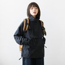Epizzsocotbp制20S/S日系bf立领黑色冲锋衣外套男女工装机能夹克