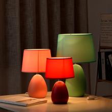 北欧温zz浪漫结婚床ww式创意卧室陶瓷智能遥控台灯婚房装饰台