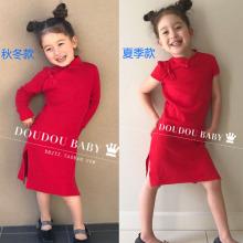 202zz秋冬式女童ww红色复古纯棉连衣裙中国风宝宝旗袍唐装裙子