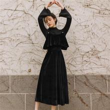 秋冬法zz复古(小)众桔ww配吊带裙金长袖(小)黑裙两件套