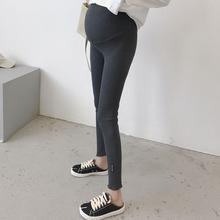 显腿~zz妇裤子春装xp裤休闲裤女纯棉春秋九分托腹孕妇打底裤